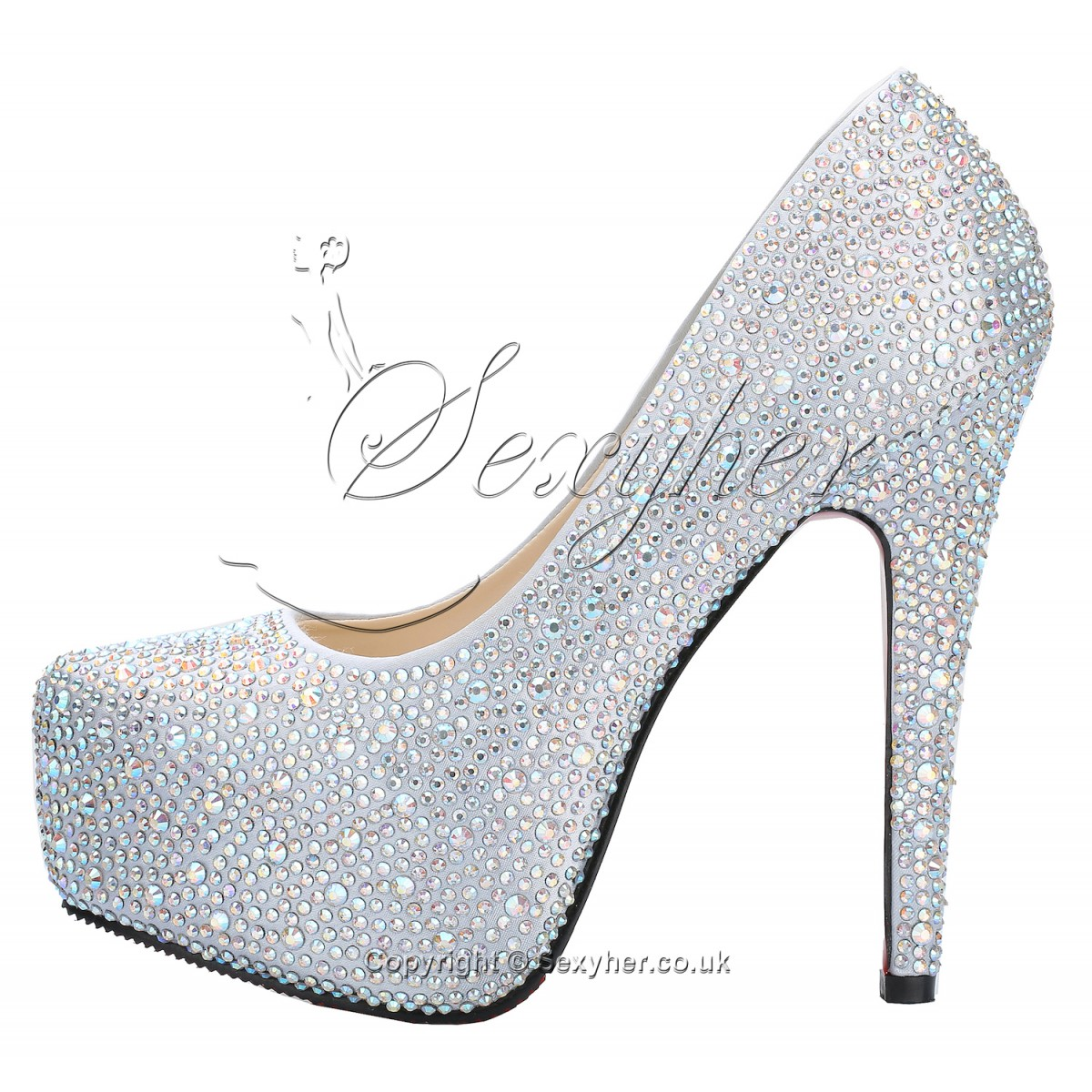 Beautiful Sparkling 5.5 Inches High Heel Platform Wedding Party Shoes