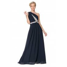 Stunning Royal Blue One Shoulder Beaded Evening Dress Prom Gown