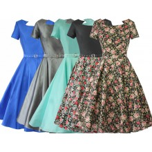 SEXYHER Ladies 1950's Vintage Style   Square  Neck Classic Dress - RBYP1711S