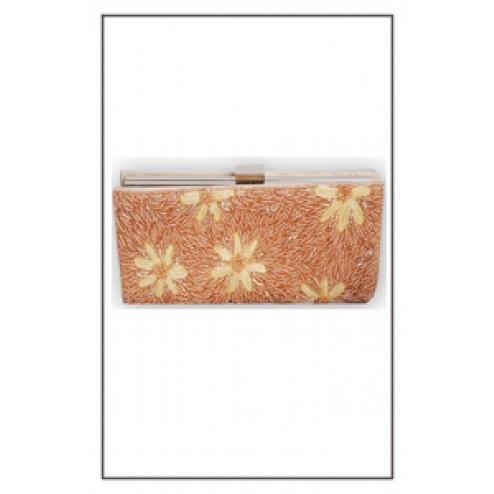 Beaded Evening Handbag With Flowers Design