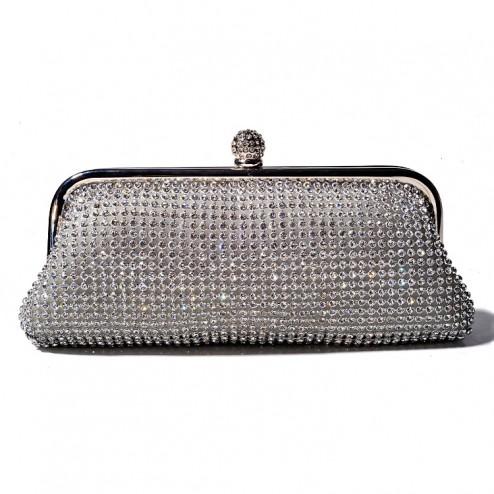 Fully Diamante Silver Evening Bag