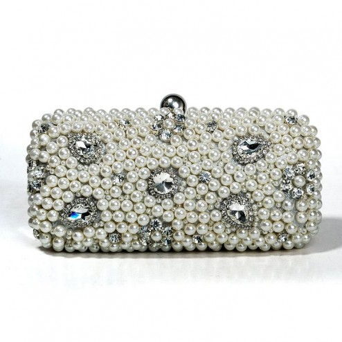 Stunning Evening Handbag With Pearls and Silver Stones
