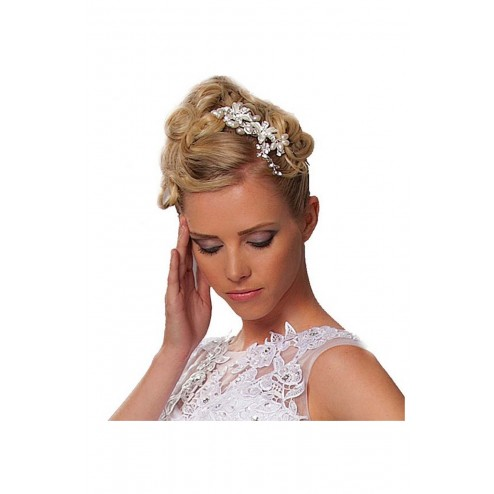Beautiful Vintage Style Hair Comb With Crystals and Pearls Details
