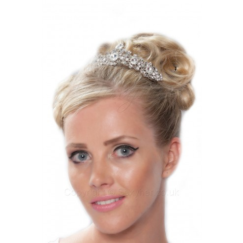 Lovely Sparkling Tendril Tiara With Clear Crystals
