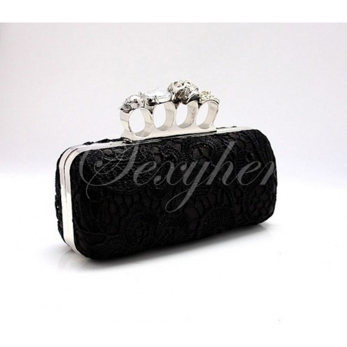 Trendy The Skull Four Finger Lace Clutch with Stylish Metal Embellishement