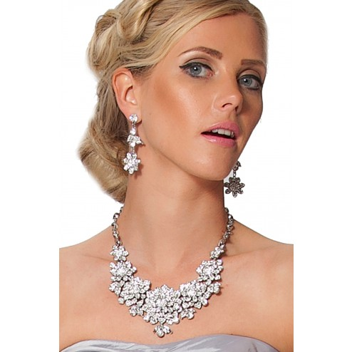 Stunning Silver Necklace and Drop Earrings With Crystal Flowers Design