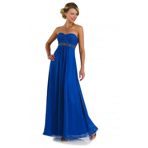 Lovely Strapless Royal Blue Full Length Evening Bridesmaid Dress