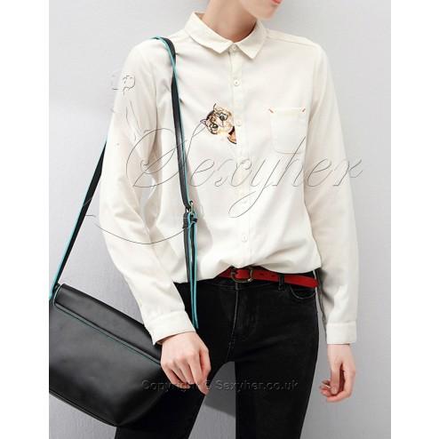 SEXYHER Women's Long Sleeve Shirt embroidered Cat Shirt-SHWT1465