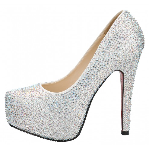 Fabulous Sparkling 4.5 Inches High Heel Platform Wedding Party Shoes