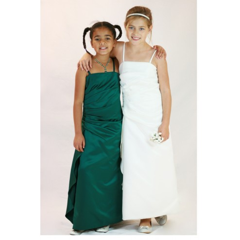 Beautiful Ruffled Flower Girl Dress Junior Bridesmaids Dress With Straps