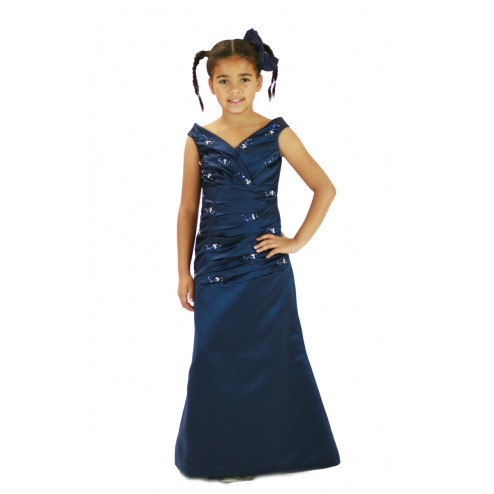 Lovely Damask Beaded Flower Girl Dress Junior Bridesmaids Dress