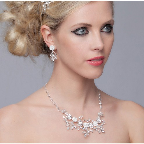 SEXYHER Gorgeous Crystal Diamond Wedding Necklace Accessories Kit