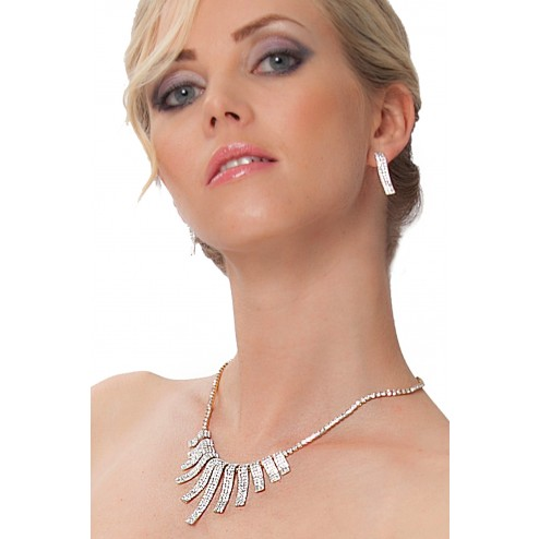 Classy Necklace And Earrings With Clear Swarovski Crystals